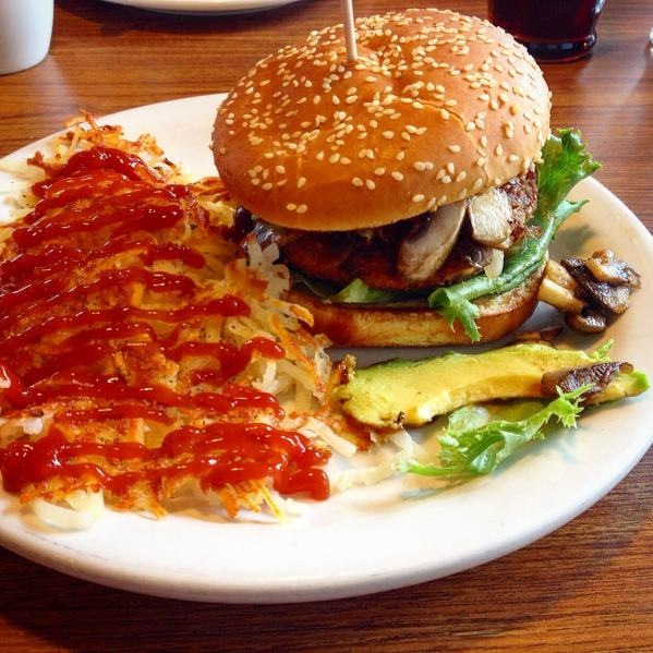 VEGAN Amy's Burger at Denny's - Build Your Own!